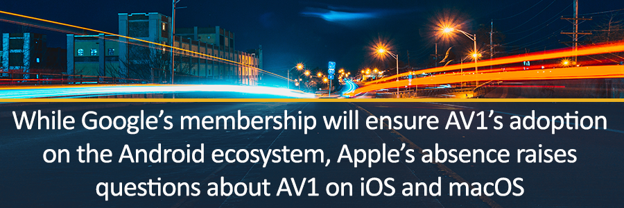 While Google's membership will ensure AV1's adoption on the Android ecosystem, Apple's absence raises questions about AV1 on iOS and macOS