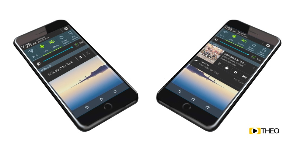 Comparison on Android of notifications with and without media session