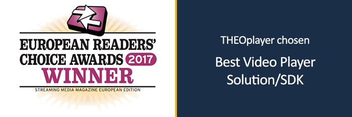 THEOplayer wins the award Streaming Media European Readers Choice Awards 2017